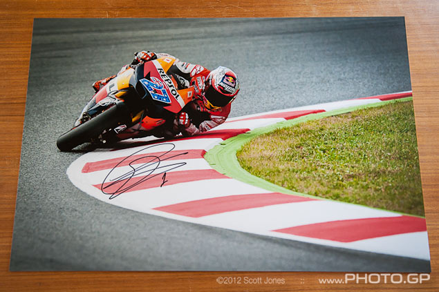 Buy a Signed Limited Edition Scott Jones Print of Casey Stoner Elbow Down at Catalunya Casey Stoner elbow Catalunya MotoGP Scott Jones
