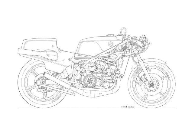 Photos: Some Classic Motorcycle Line Art Drawings Motorcycle line drawing 01 635x423