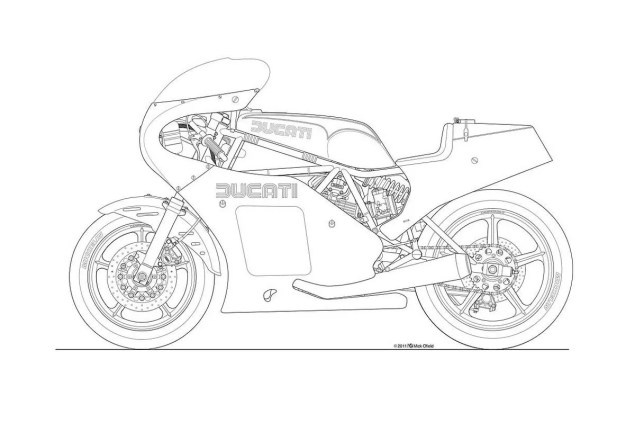 Photos: Some Classic Motorcycle Line Art Drawings Motorcycle line drawing 06 635x423