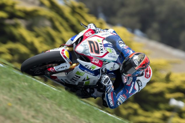 2013 WSBK Private Phillip Island Test Day 1 Times: Laverty Leads as New Surface Causes Crashfest Leon Camier Fixi Crescent Suzuki 635x422