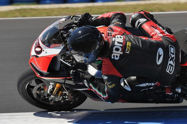 WSBK: Race Results for Race 1 at Phillip Island Sylvain Guintoli Aprilia Racing WSBK Phillip Island 635x423