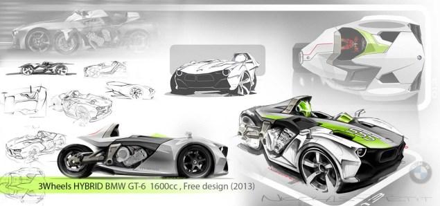 BMW K1600GT Hybrid 3 Wheeler Concept by Nicolas Petit BMW K1600GT 3 Wheeler Nicolas Petit 02 635x298