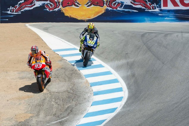 Photos: Marc Marquez Passing Valentino Rossi in The Corkscrew at Laguna Seca Marc Marquez Valentino Rossi Laguna Seca Corkscrew Pass Kevin Warren 4 635x423