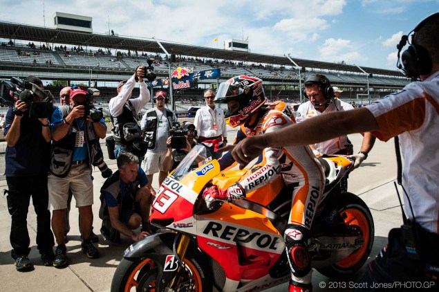 Saturday Summary at Indianapolis: An Unstoppable Marquez, A Breakable Spies, & A Desirable Hayden Saturday Indianapolis GP MotoGP Scott Jones 01 635x422