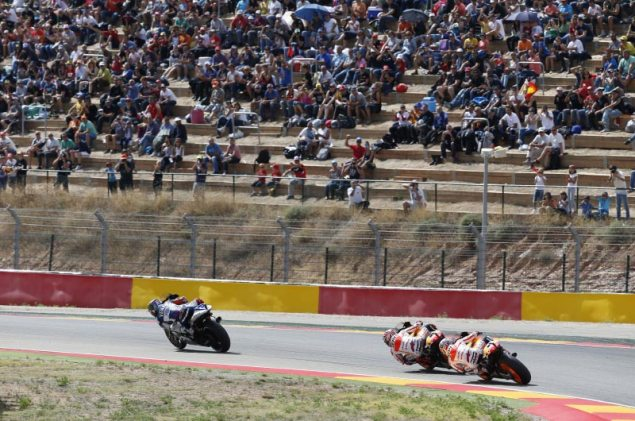 Sunday Summary at Aragon, Part 1: Pedrosa vs. Marquez   Who Is to Blame? lorenzo pedrosa marquez motogp hrc 635x421