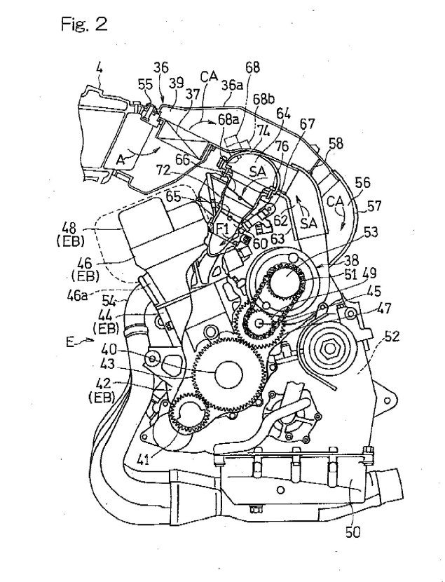 More on Kawasakis Supercharged Motorcycle Engine Kawasaki supercharged motorcycle engine patent drawings 03