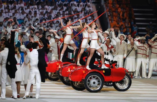 Ural Sidecars Used in Opening Ceremony for Sochi Olympics ural sidecar sochi russia olympics motorcycle 635x413