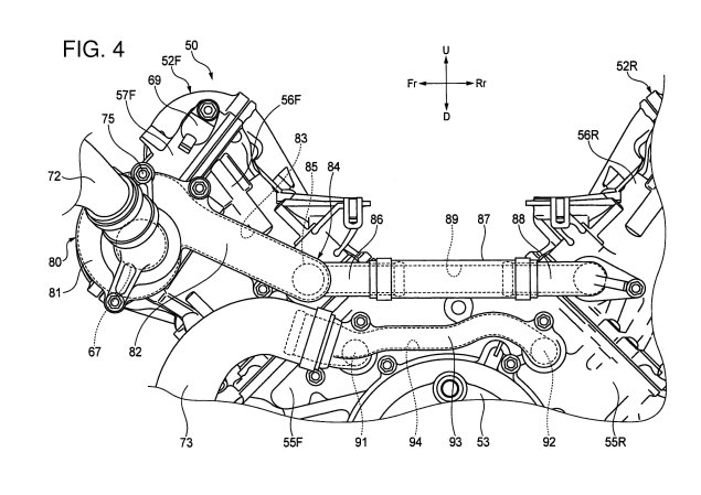 Honda V4 Superbike Engine Outed in Patent Photos Honda V4 engine patent 03 635x449