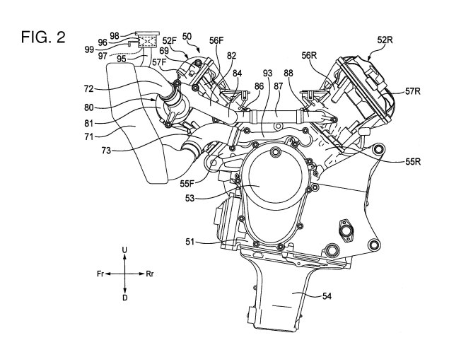 Honda V4 Superbike Engine Outed in Patent Photos Honda V4 engine patent 05 635x505