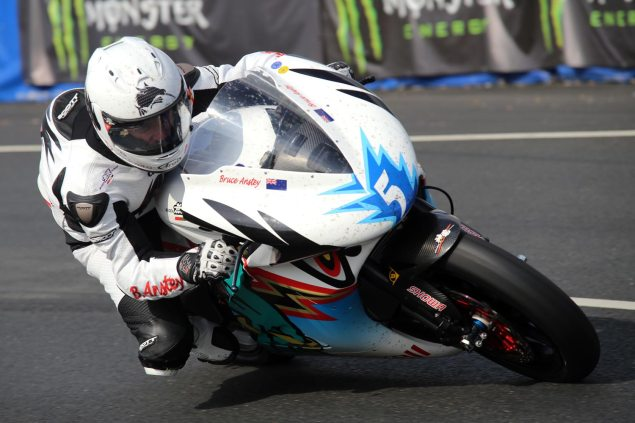 IOMTT: Anstey Laps 112 MPH on the Mugen Shinden San Bruce Anstey Mugen TT Zero Isle of Man TT 635x423