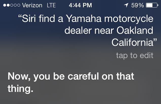When Did Apples Siri Turn into My Mother? apple siri motorcycle question response crop