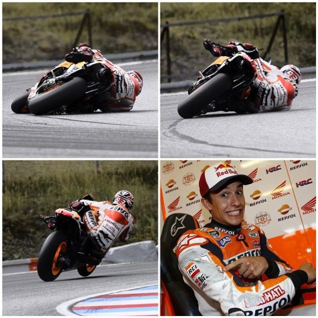 Monday Summary at Brno: Honda & Yamaha Test 2015 Bikes, Others Test Themselves marc marquez brno test crash save 635x635