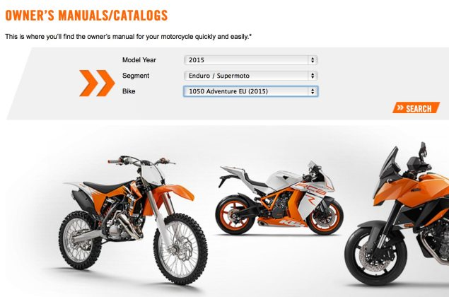 KTM 1050 Adventure Outed by...KTM? ktm 1050 adventure owners manual 635x420