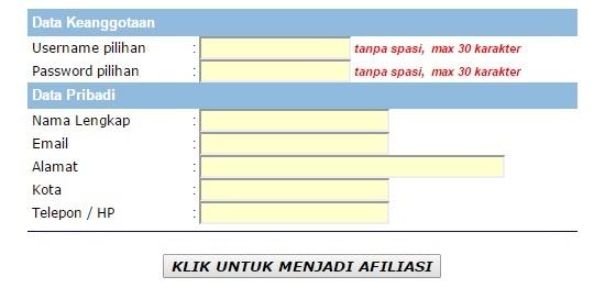 Form Pendaftaran Program Afiliasi Cream Yashodara