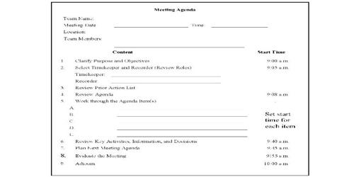 Sample Department Meeting Agenda Format - Assignment Point