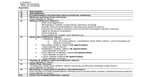 Sample Management Meeting Agenda Format - Assignment Point