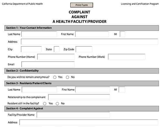 File A Complaint Against A California Assisted Living Facility - complaint form