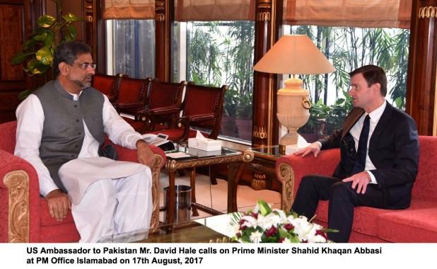 US Ambassador to Pakistan Mr. David Hale calls on Prime Minister Shahid Khaqan Abbasi at PM Office Islamabad on 17th August, 2017