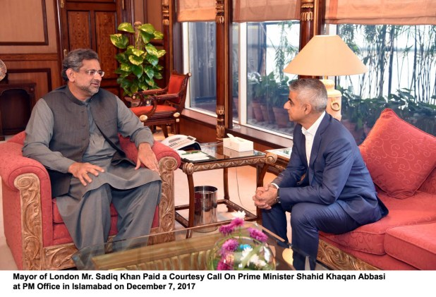 Mayor of London Mr. Sadiq Khan Paid a Courtesy Call On Prime Minister Shahid Khaqan Abbasi at PM Office in Islamabad on December 7, 2017