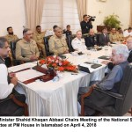 Prime Minister Shahid Khaqan Abbasi Chairs Meeting of the National Security Committee at PM House in Islamabad on April 4, 2018