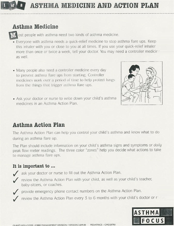 Asthma Medicine and Action Plan - The Asthma  Allergy Center - asthma action plan