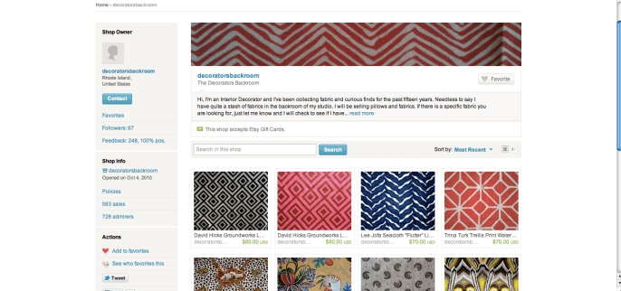 Screen Shot of The Decorators Backroom via Etsy