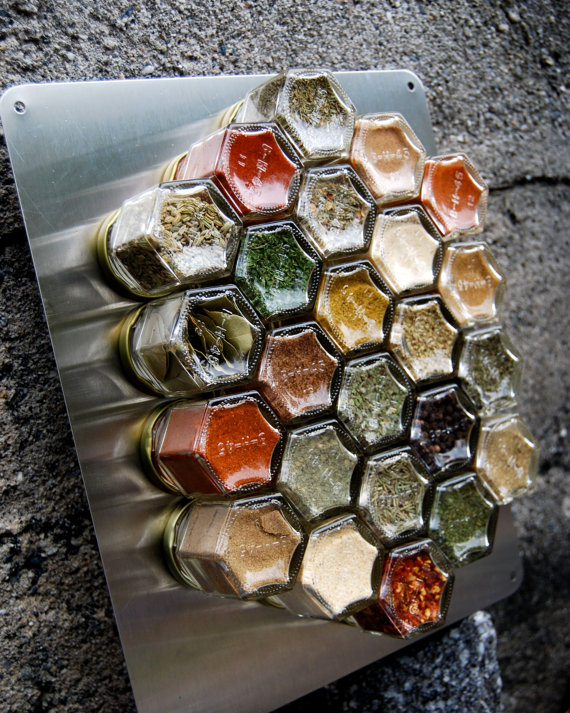 honeycomb spice rack from etsy