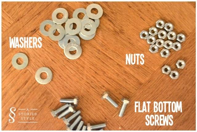 washers, nuts, flat bottom screws