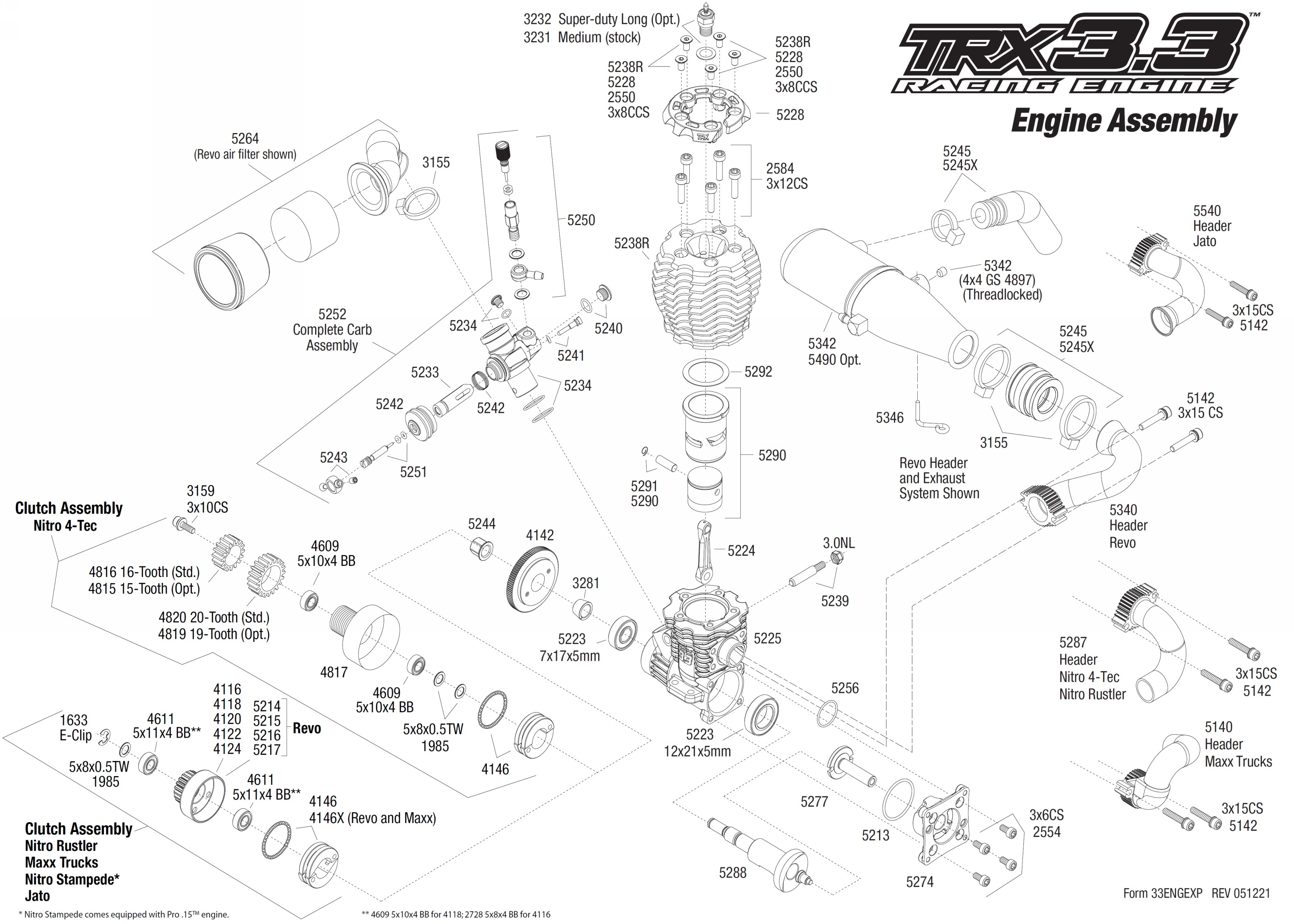 traxxas 3.3 engine parts diagram