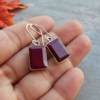 Buy Natural Ruby earrings, Rectagular earrings, Silver ...