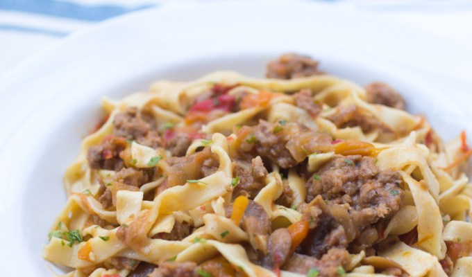Drunken Italian Sausage and Pepper Noodles