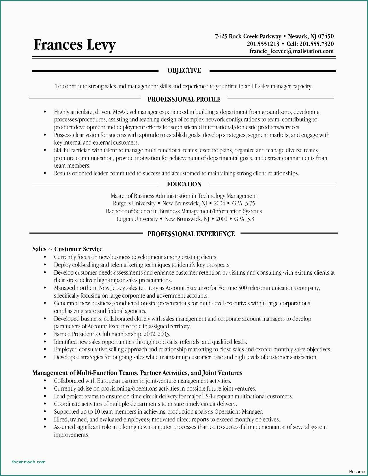 rutgers sample resume