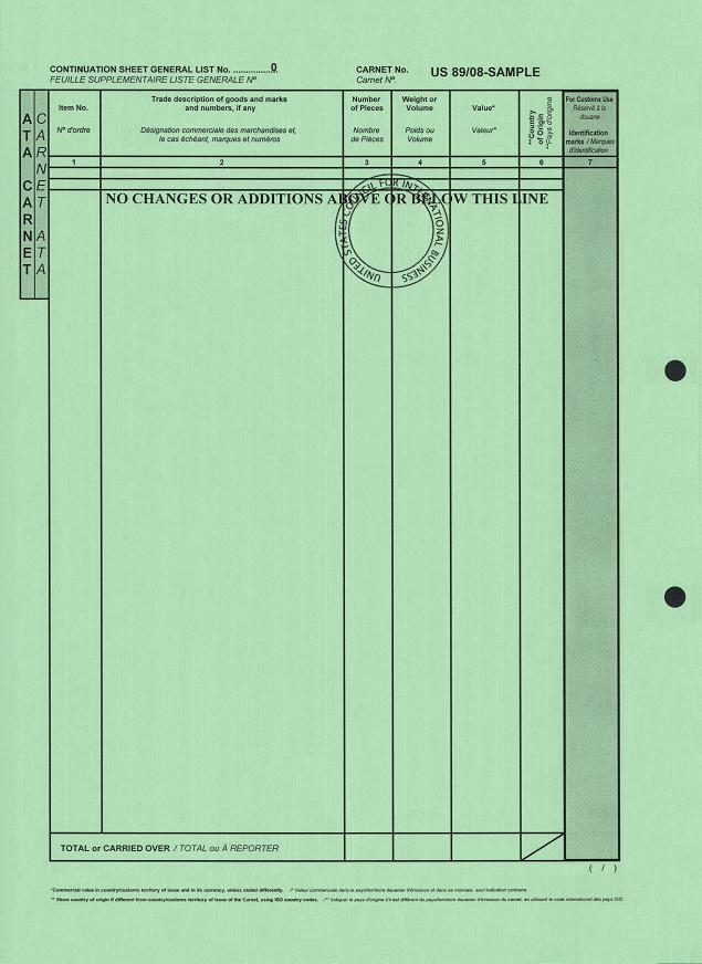 What Does a Carnet Document Look Like? Examples of a Carnet Document - equipment list samples