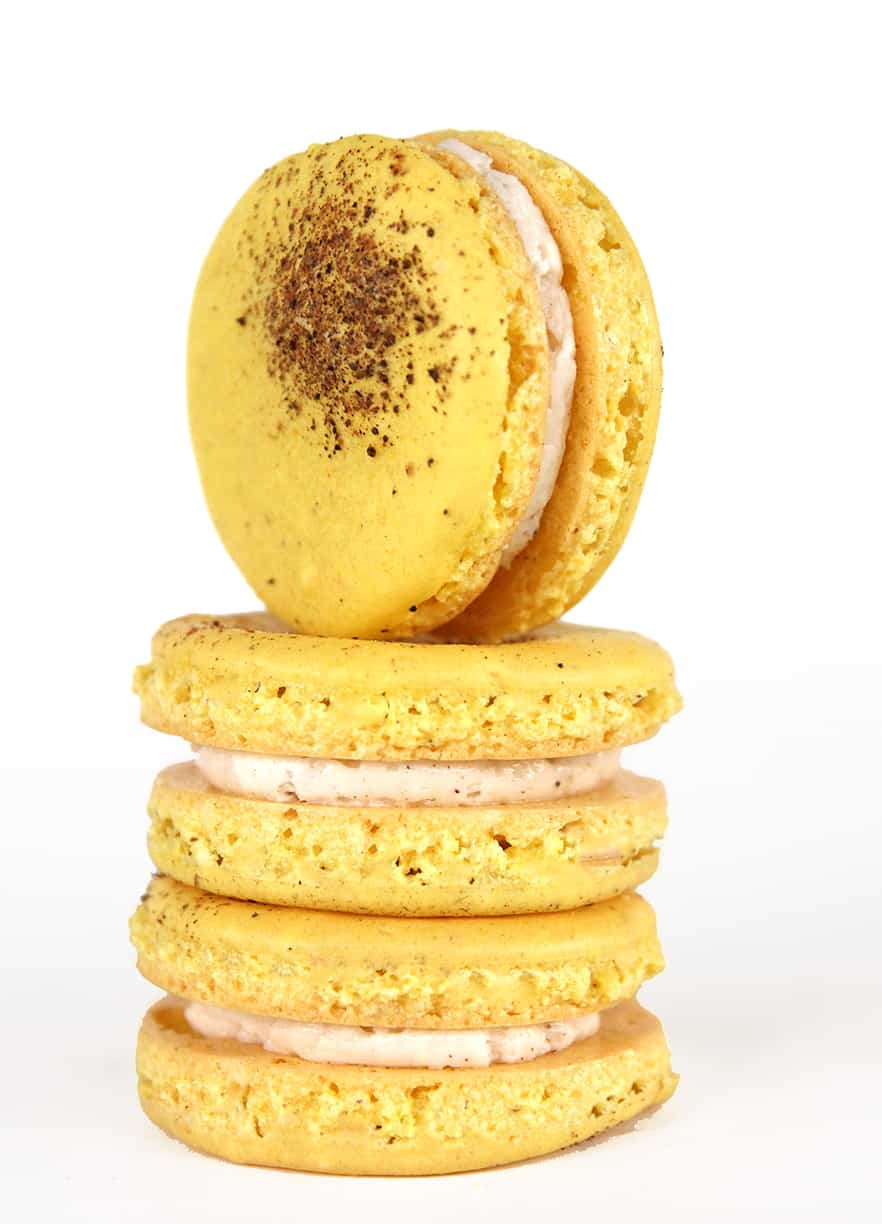 Holiday eggnog macarons with nutmeg and cinnamon notes are perfect for ...