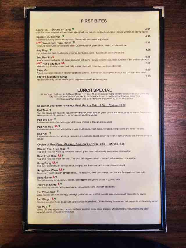 Titaya's New Menu, Titaya's Thai Cuisine, Austin