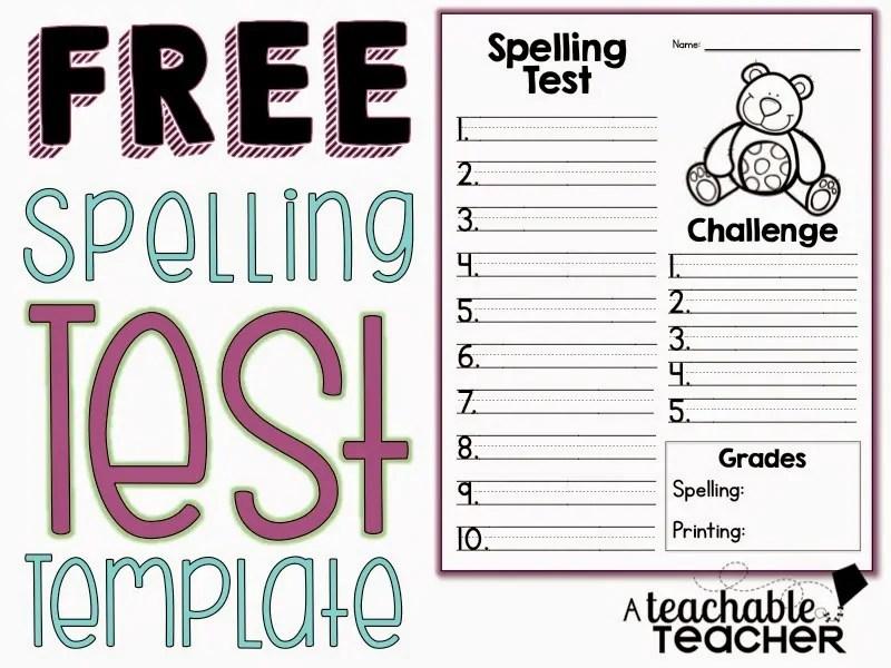 Spelling Test Freebie - A Teachable Teacher