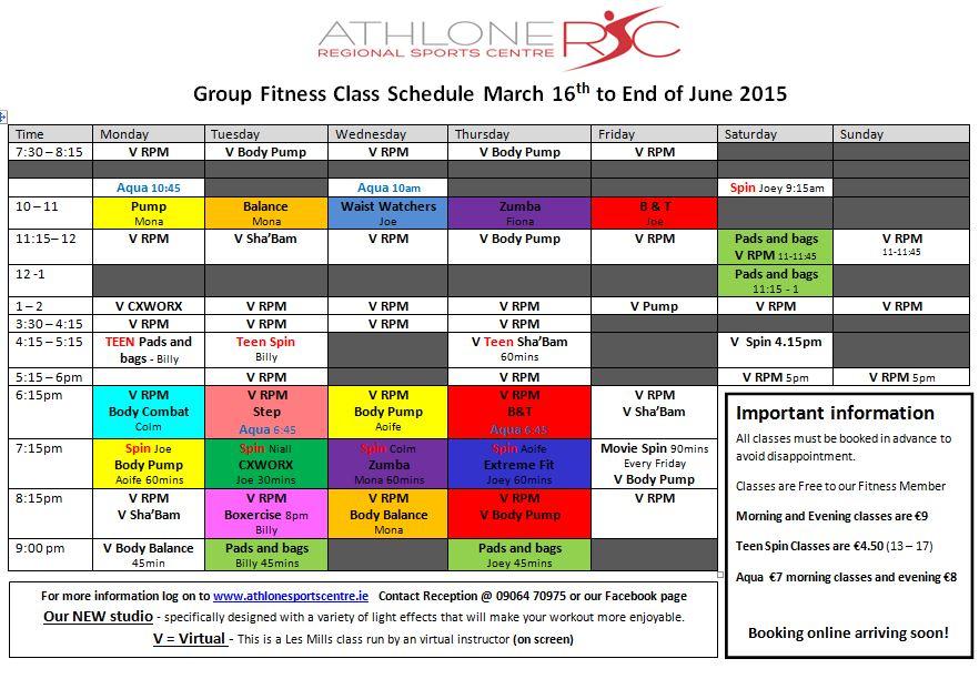Athlone Regional Sports Centre Fitness Class Timetable Fitness - class timetable