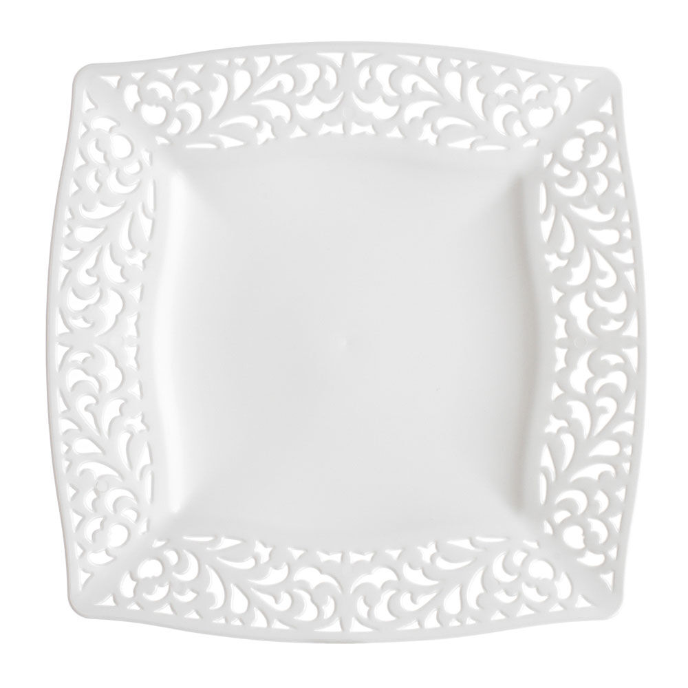 White Pierced Square Side Plates