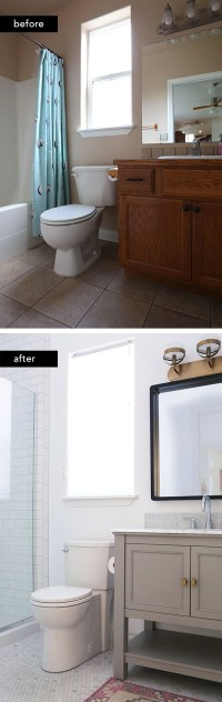 Our Budget-Friendly Guest Bathroom Remodel | At Home In Love