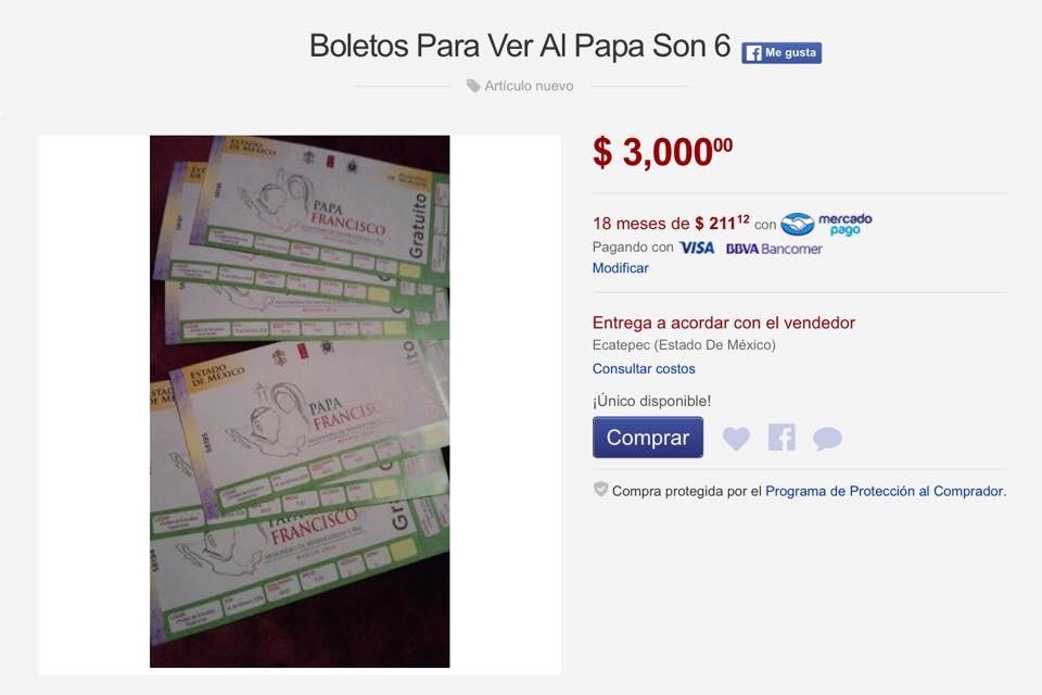 Sigue en Mercado Libre venta de boletos para eventos del Papa A - como hacer boletos para un evento