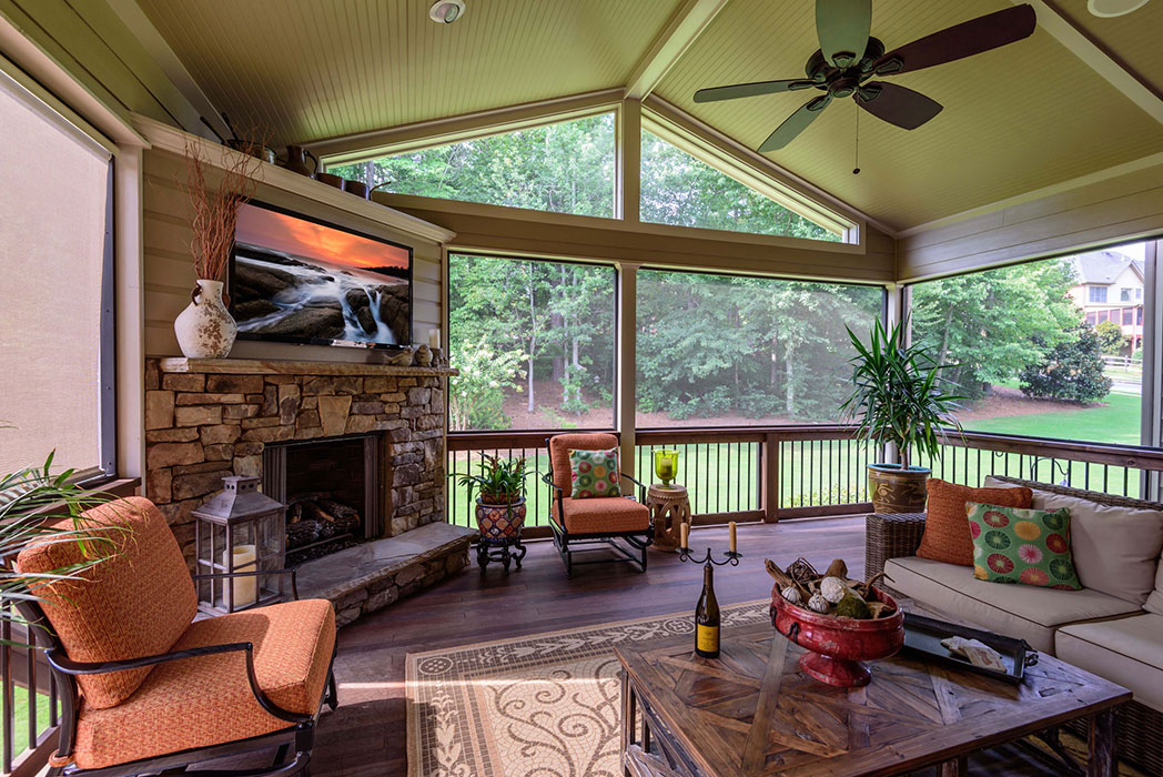 Adding Fireplace To Covered Porch Wonderful Interior
