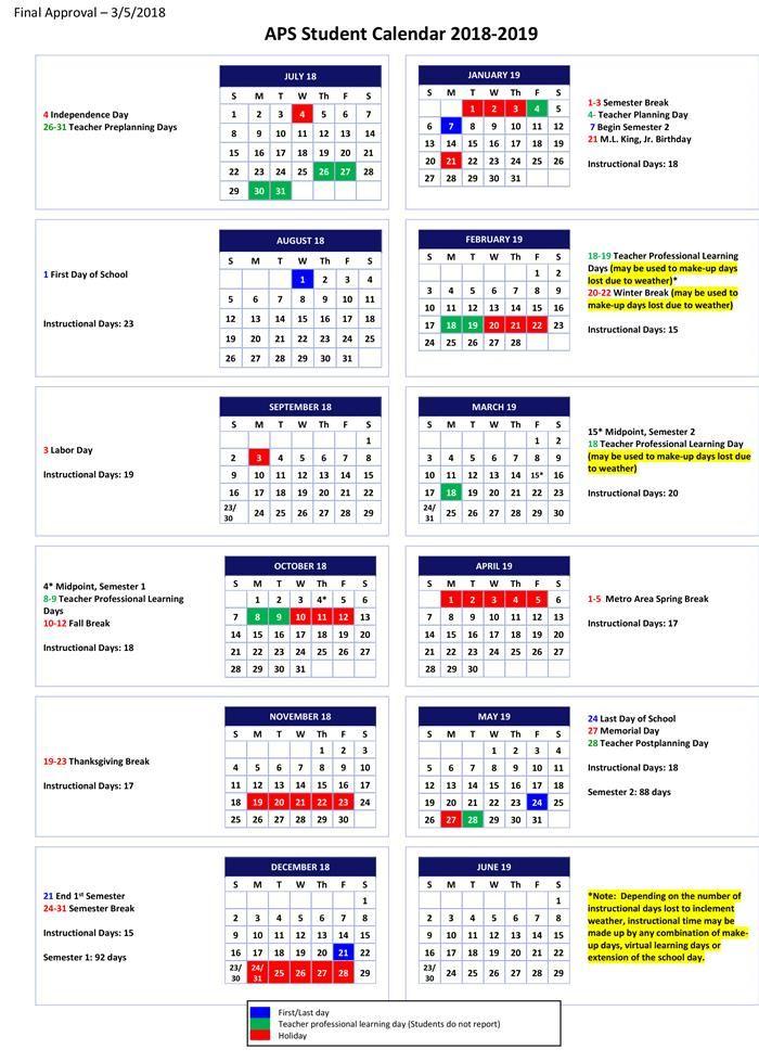 2018-2019 Student Calendar