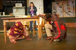 Cynthia D. Barker, Marcie Millard, Eric J. Little in Third Country. Photo by Horizon Theatre Company