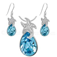 $99.95 - Sterling Silver Starfish Necklace & Earrings Set ...
