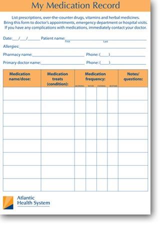 My Medication Record - Printable Medication Record - Atlantic Health