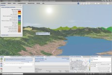 GUI for 3D maps (panoramas, block diagrams, prism maps), including panels for map theme choice, map visualization, navigation, map analysis, and general functions