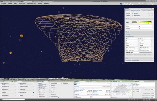 Night sky in panorama map: Display of planetary orbits (Mercury, 10 years)