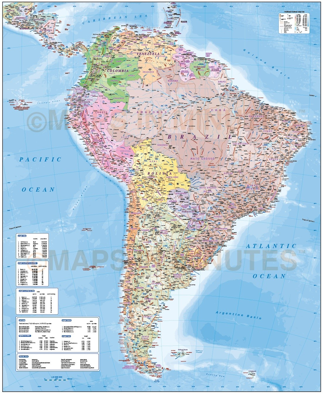 Digital Vector South America Map Deluxe Political Road