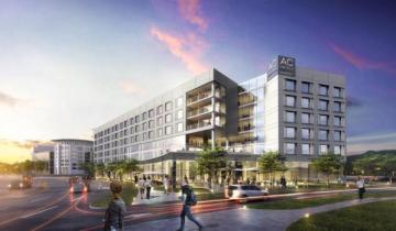 The 176-room AC Hotel Irvine in the Park Place development opened this spring. (Rendering courtesy of Pacific Hospitality Group)