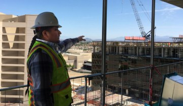 Michael Murphy shows off the 10th floor of a hotel tower under construction at Pechanga Resort & Casino. Fielding Buck, Temecula, Wednesday, April 19, 2017.